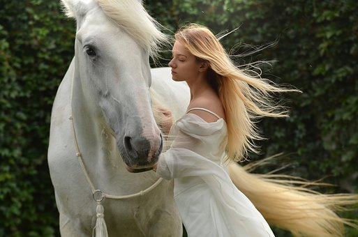 Woman, Horse, Magical, Daydream, Lady