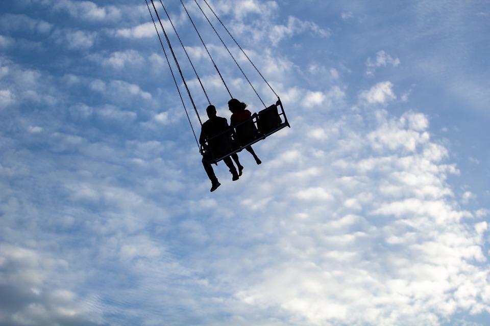 シルエット, スイング, 空, 振幅の空, カップル, 恋人, 愛の鳥, 日付, 出会い, カーニバル日