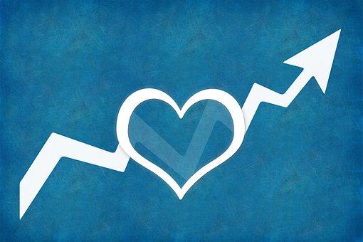 上昇, キャリア, 心, 矢印, 人間性, ビジネス, 前方に来てください