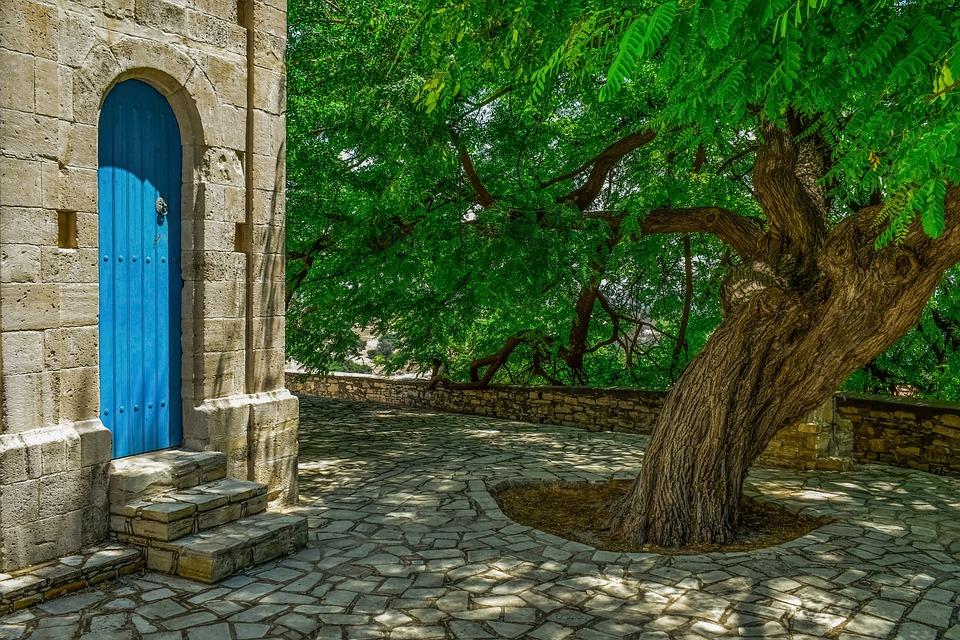 Slate Square Tree Door Stone Village Cyprus
