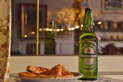 Beer, Pizza, Food, Meal, Restaurant