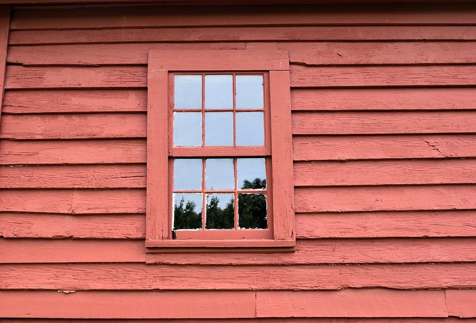 外壁, 背景, 赤色の塗料, ウィンドウ, 建物, ビンテージ, 壁, 外観, パターン, 表面, テクスチャ
