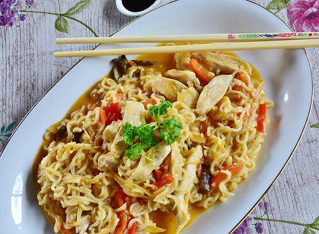 Noodles, Asia, Vegetables, Chicken