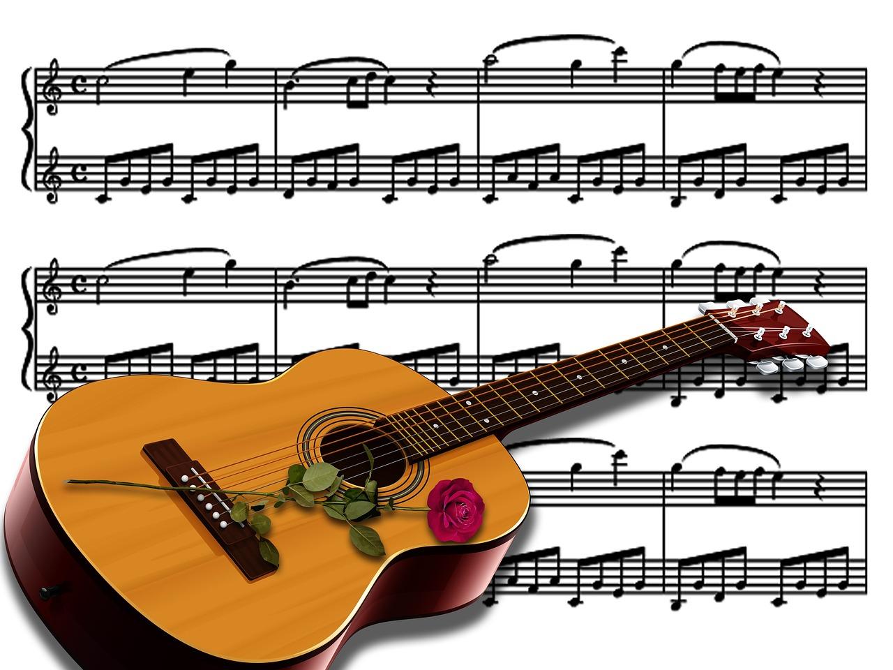 красивые картинки ноты и гитара стоимость влияет наличие