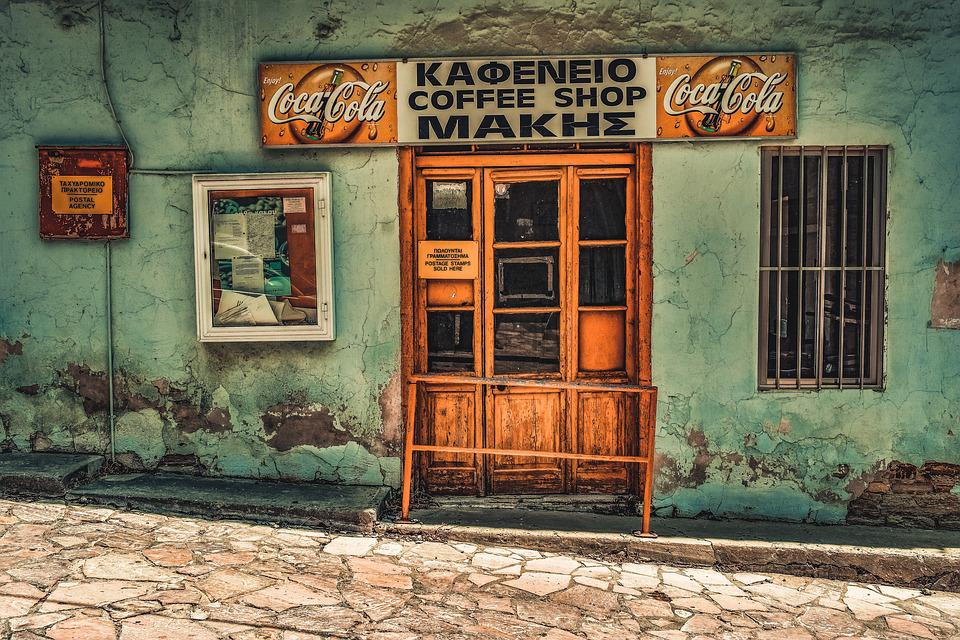 Coffee Shop, Closed, Abandoned, Old, Aged, Weathered