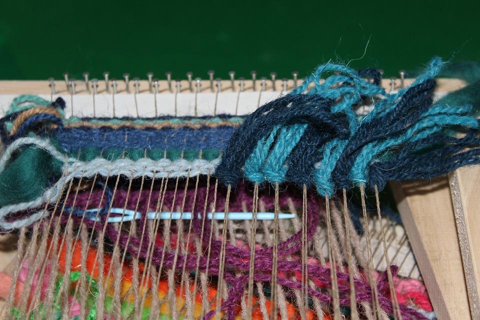 工艺品, 手工艺, 图片框, 纤维, 羊毛, 多彩, 编织, 工作