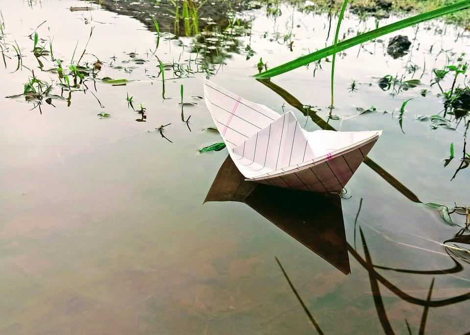 Детство, Бумажный Кораблик, Простой, Бумаги, Воды