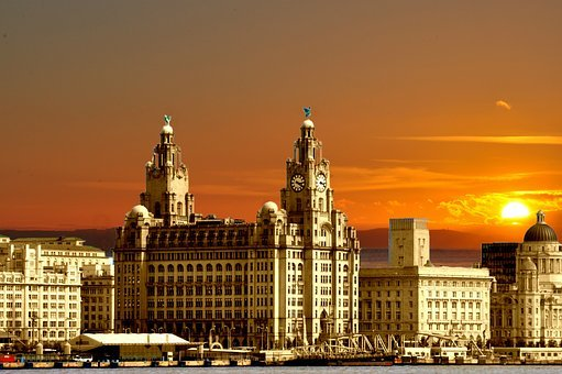 Three Graces, Liverpool, England, Sunset