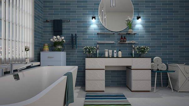Bathroom, Blue, Tile, Design, White