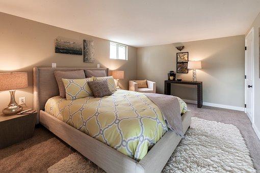 Bedroom, Basement, Bed, Rug, Staging