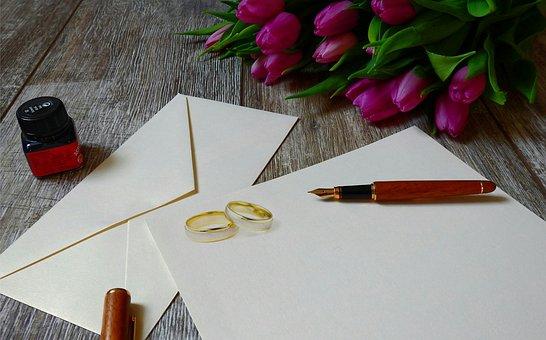 結婚式招待状, リング, 結婚式, 結婚式のカード, 結婚花, ボールペン
