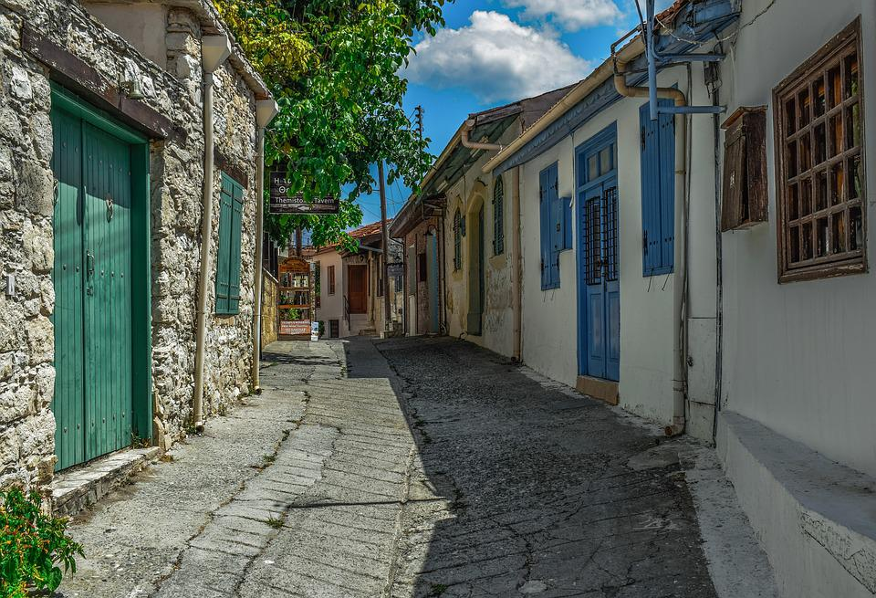 Cyprus, Omodos, Village, Street, Houses, Architecture
