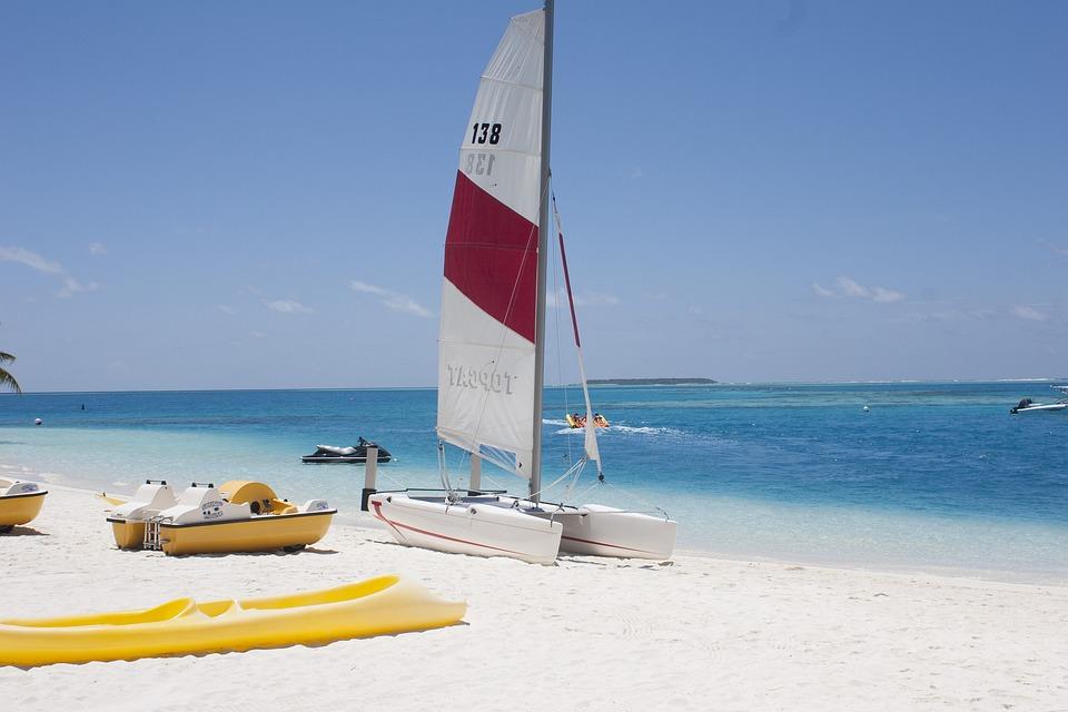 Мальдивы, Пляж, Конрад, Атолл, Белый Песчаный Пляж