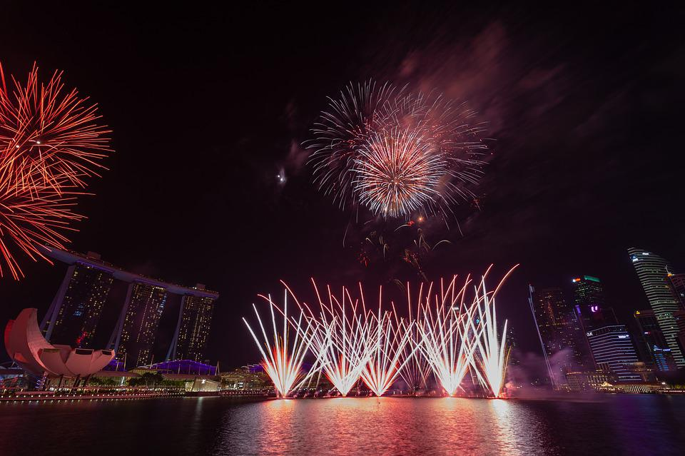 Singapore, Fireworks, City, Celebration, Festival