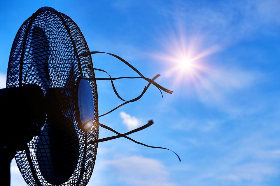 熱, ホット, 夏, 太陽, ファン, 空気, 換気, クール, 冷却