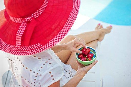 Summer, Poolside, Red Hat, Strawberries