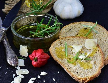 パン, オリーブ オイル, ニンニク, パルメザンチーズ, 食品, キッチン