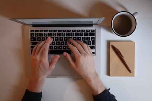Laptop, Hands, Coffee, Notebook, Desk