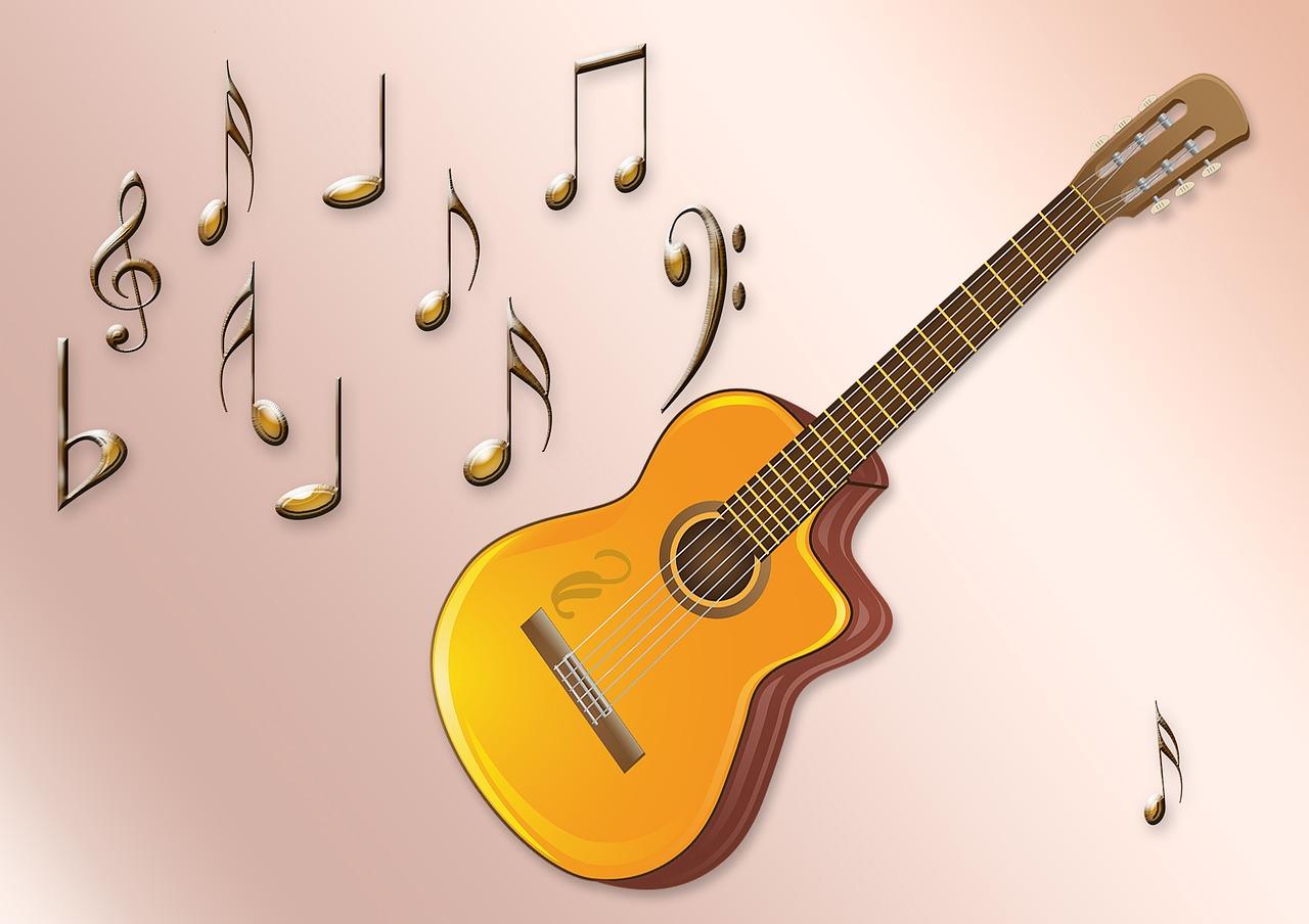 Скрапбукинг, фон с гитарой для открытки