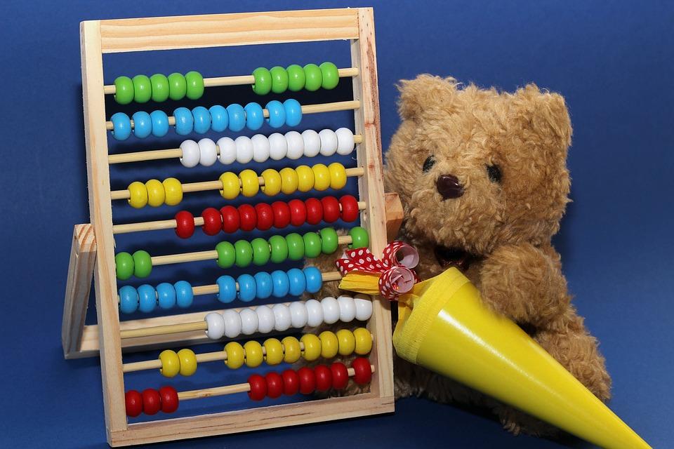 Schulanfang, Teddy, Schultüte, Gelb, Rechenschieber