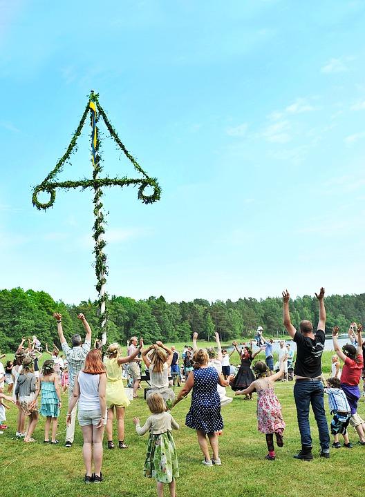 Midsummer, Games, Maypole, Dance, Circle Dance, Jumps