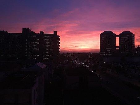 Porto Alegre, Sunset, Center, Silhouette