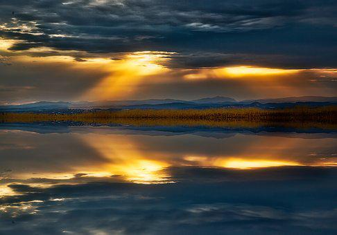 일출, 반사, 구름, 경치, 자연