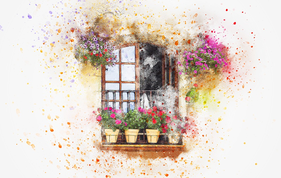 Balcony, Flowers, Vase, Art, Watercolor, Nature