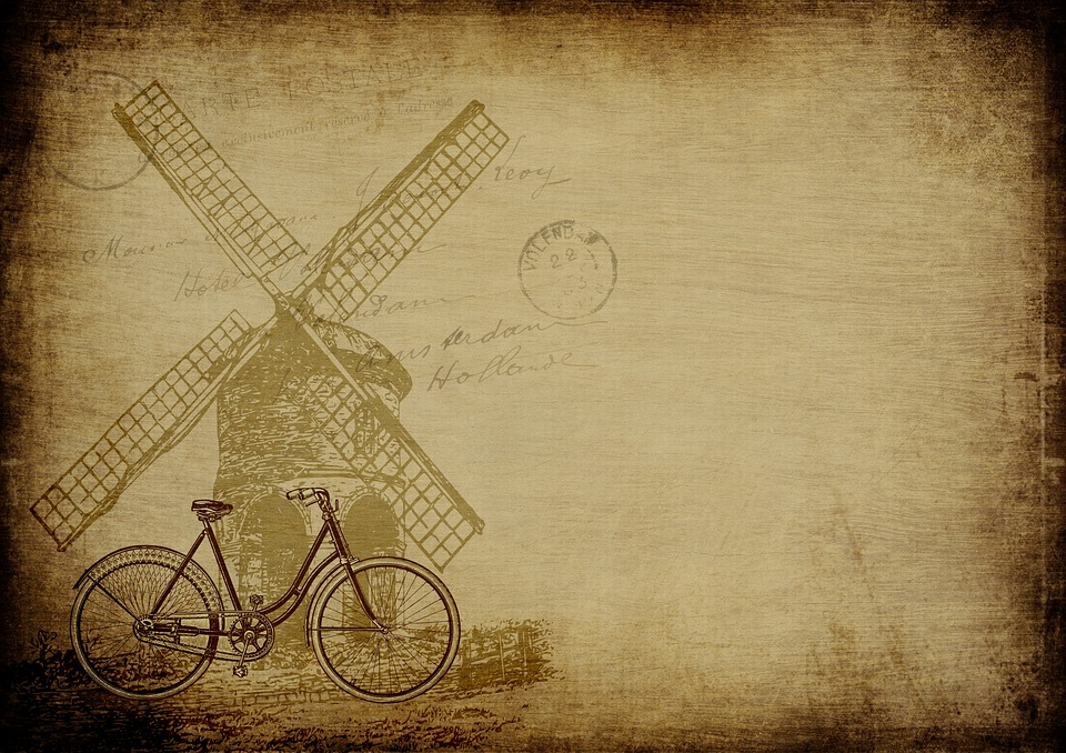 Dutch, Windmill, Vintage, Old, Paper, Background