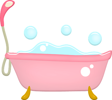Bathtub, Bubbles, Pink, Feminine