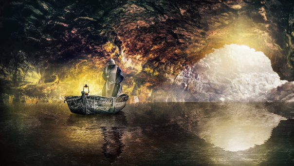 Cave, Monk, Boat, Lantern, Water