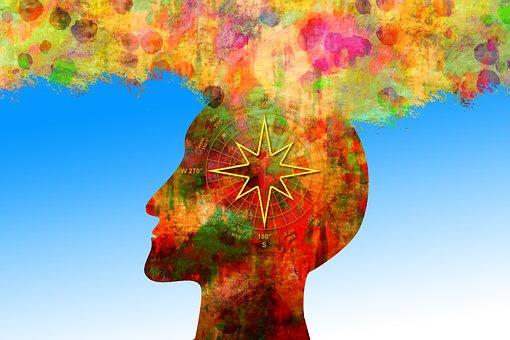 魂, 心理学, 哲学, 男, 頭, コンパス, シルエット, 色, 土, 水彩画
