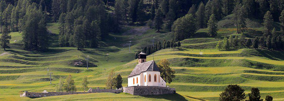 Mountain Meadow, Chapel, Alpine, Mountains