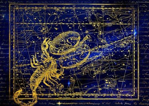 星座, 蠍座, 水平, 空, 満天の星空