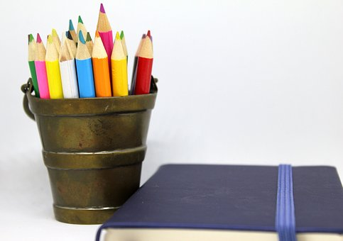 鉛筆, 色, 真鍮, バケツ, ホルダー, ノートブック, 日記, メモ, 本