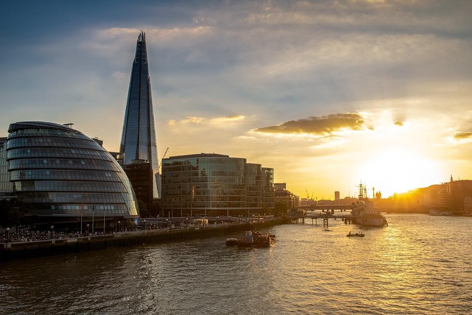 London, Evening Sun, River Thames, Shard, Golden