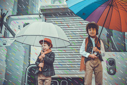 Rain, Umbrellas, Kids, Childhood