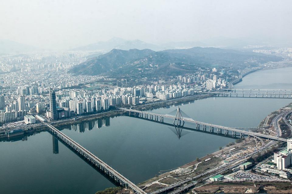 서울, 탑, 보기, 한국, 건축물, 중심지, 스카이 스크 래퍼