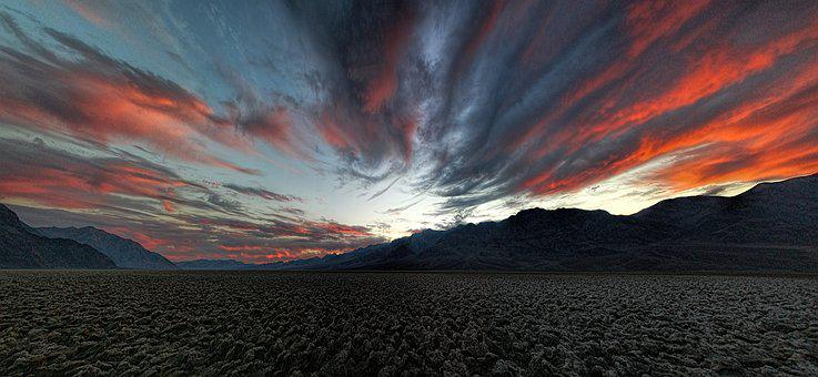 death valley sky clouds panorama