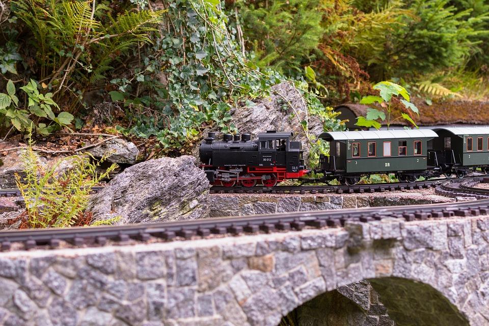 Zug, Lockomotive, Wagon, Modeleisenbahn, Brücke