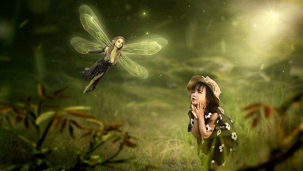 ファンタジー, エルフ, 子, 女の子, 喜び, 光, 自然, 気分