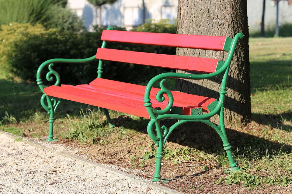Pleasing Red Bench Park Green Free Photo On Pixabay Gmtry Best Dining Table And Chair Ideas Images Gmtryco