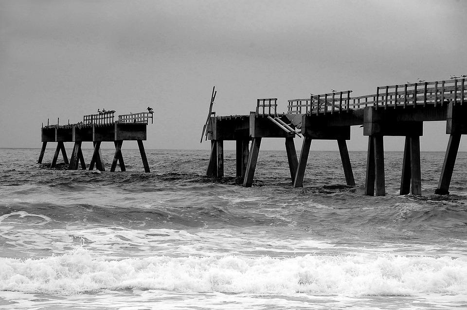 Fishing Pier, Pier, Hurricane Destruction, Damage
