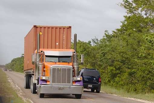 Camión, Semi, Tractor, Contenedor