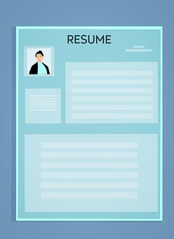 Image of a resume showing a passport photo on the top left hand corner and scrbblings across the page