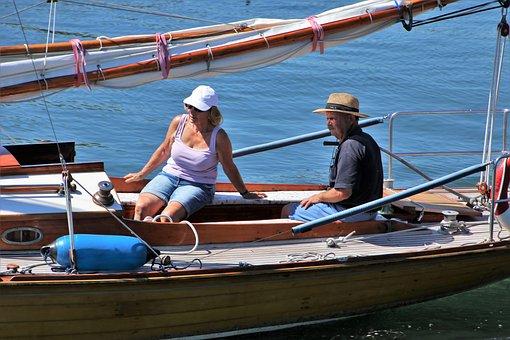 シニア, ボート, 帆, 心の平和, 太陽, 水, パラ, クルーズ, ブルー