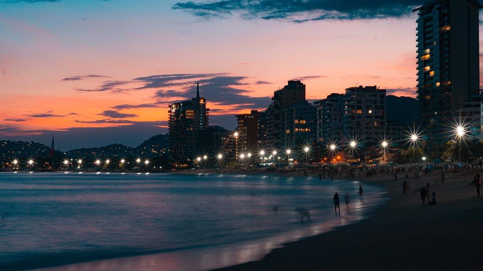 Acapulco, Zachód Słońca, Meksyk, Morze, Niebo, Raj