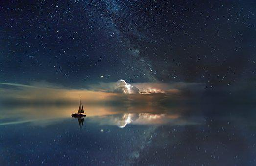 Ocean, Starry Sky, Milky Way, Rest