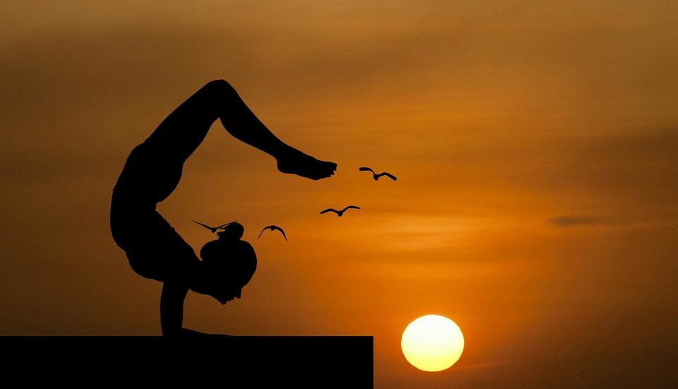 ヨガ, バランス, 自然, 逆立ち, 屋根, ポーズ, 美しさ, 穏やかな, 平和, 体, 女性