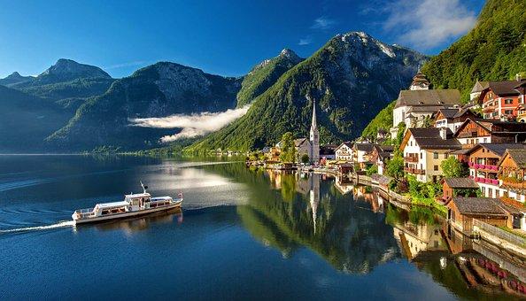 ハルシュタット, オーストリア, Bergsee, 湖, 高山, 夏, 観光